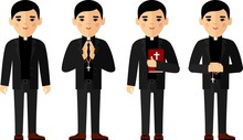 Set Of Different A Religious People, Priest And Nun In Colorful Flat Style.