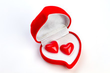 Valentines Day Background With Red Gift Box. Red Velevet Heart Shaped Box With Heart Shaped Earrings. Beautiful Gift For Valentines Holiday.