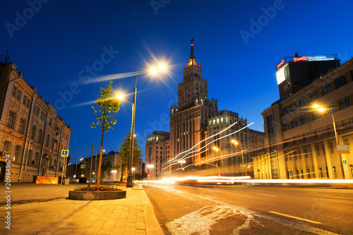 Foto op Canvas Aziatische Plekken Sunset over famous landmarks - Red Gates Administrative Building - Stalin skyscraper of Seven Sisters in Moscow