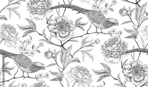 Stampa su Tela Seamless pattern with exotic bird pheasants and peony flowers.