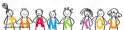 Photo Smiling group of stick figures holding colorful letters, men and women, THANK YO