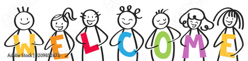 Fotografia Smiling group of stick figures holding colorful letters, men and women, WELCOME,