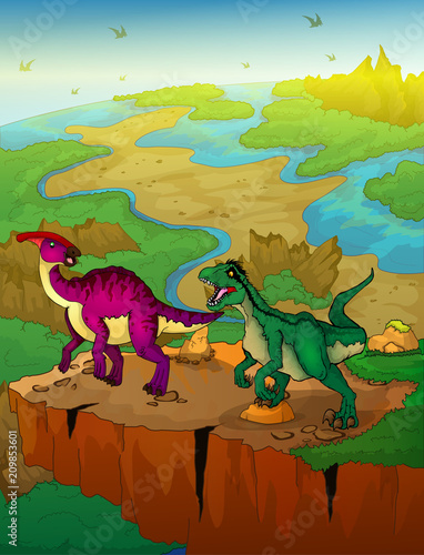 Deurstickers Dinosaurs Parasaurolophus and raptor with landscape background. Vector illustration.