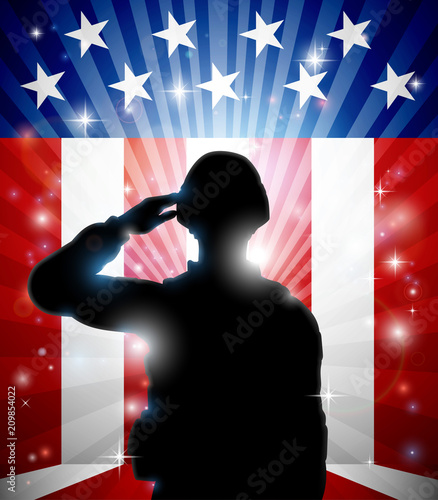 Canvas Prints Military Soldier Saluting American Flag Background