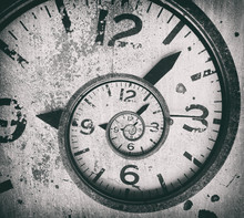 Abstract Spiral Clock Background. Twisted Time.