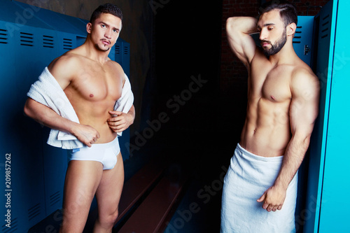 Fényképezés  two muscular handsome men after workout