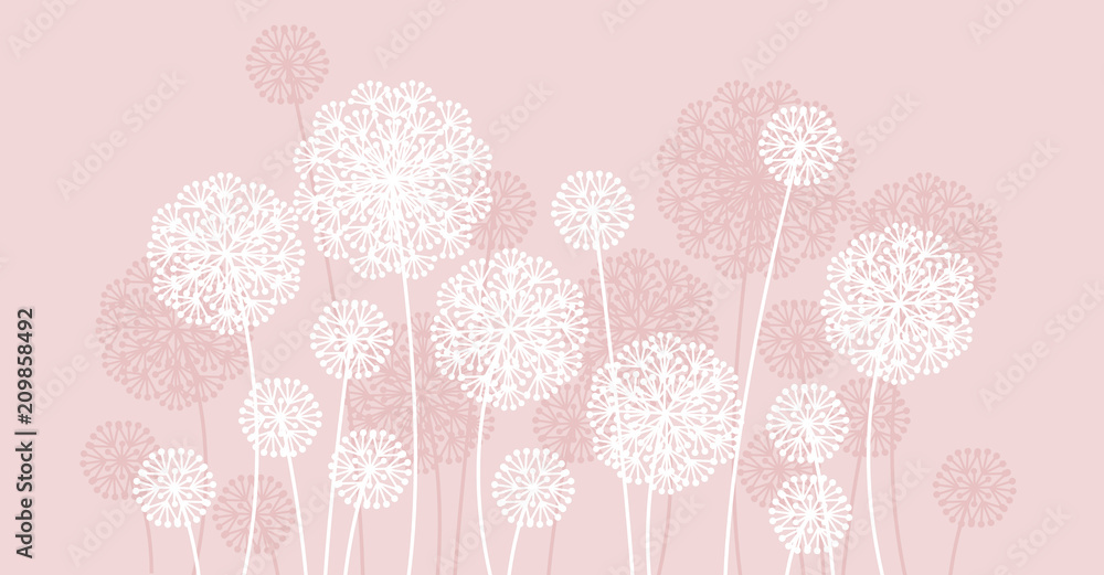 Fototapety, obrazy: Abstract pale color summer dandelion motif