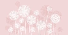 Abstract Pale Color Summer Dandelion Motif