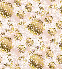 NaklejkaRose gold concept dandelion seamless pattern