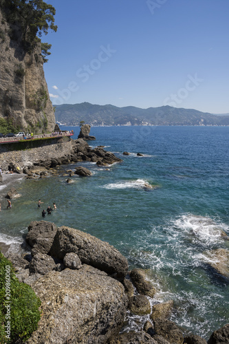 Fotobehang Groen blauw landscapes on the sea along the coast of Portofino in Genoa in Italy