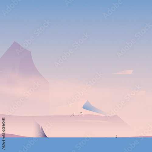Cliffs and Shore with Sail Boat at Sea