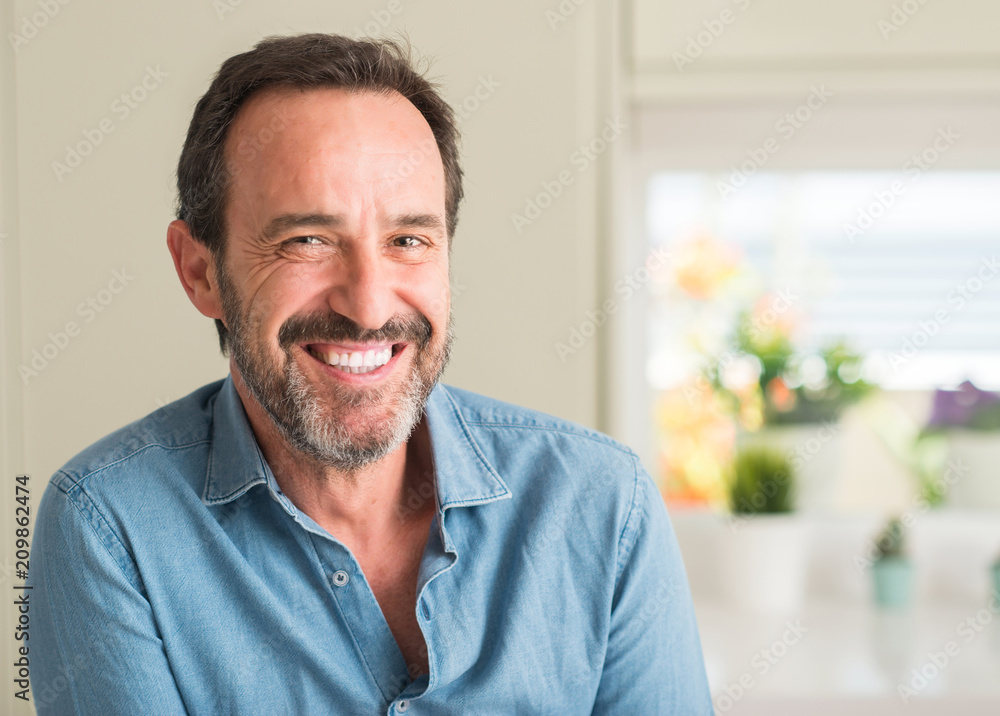 Fototapety, obrazy: Handsome middle age man with a happy face standing and smiling with a confident smile showing teeth