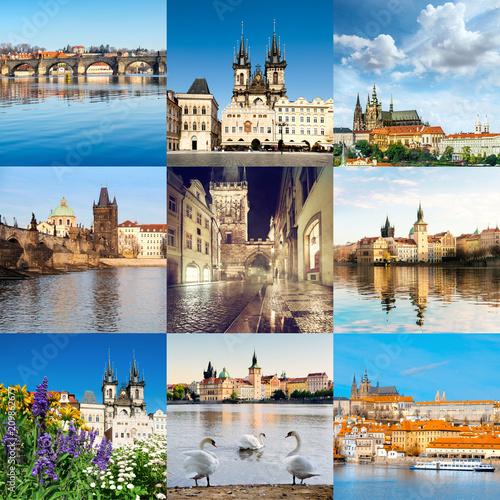 Plakat Widoki miasta Pragi, w tym Most Karola, katedra św. Wita, ulice i brzeg rzeki