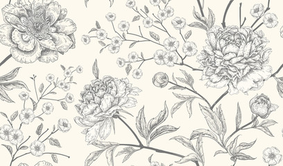 Panel Szklany Natura Luxury seamless background with peony flowers.