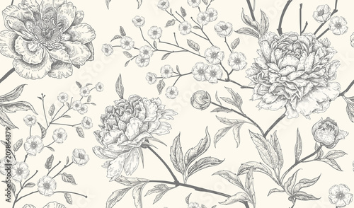 Deurstickers Vintage Bloemen Luxury seamless background with peony flowers.