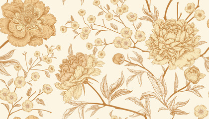 Panel Szklany Podświetlane Vintage Seamless pattern with exotic bird pheasants and peony flowers.