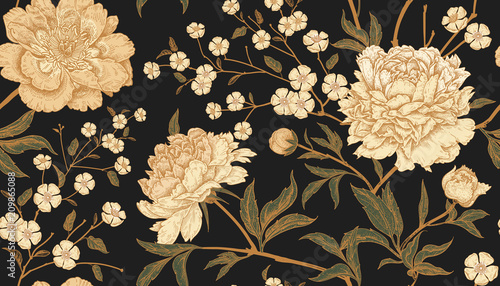 Photo Seamless pattern with exotic bird pheasants and peony flowers.