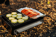 Grill With Salmon And Vegetabl...