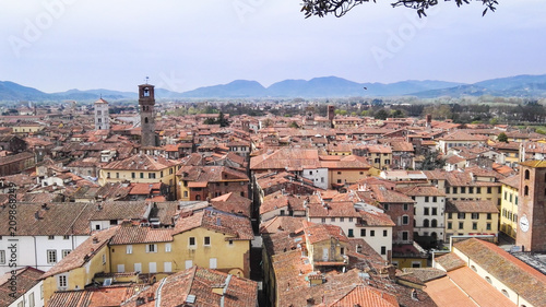 Panorama on the roofs of houses of Pisa from Saint Nicholas tower in Tuscany Wallpaper Mural