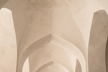 White Arches And Arches Of The Corridor In Kalyan Mosque. Ancient Buildings Of Medieval Asia. Bukhara, Uzbekistan