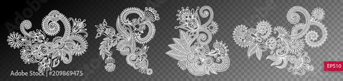 Valokuva set of four paisley flower design isolated on a transparent back