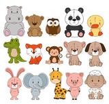 Fototapeta Fototapety na ścianę do pokoju dziecięcego - little and cute animals group vector illustration design