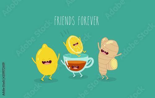 Fotografía  Black tea with lemon and ginger