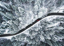 Car On Road In Winter Trough A...