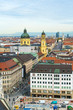 Aerial view of Marienplatz and Munich city, Bavaria, Germany