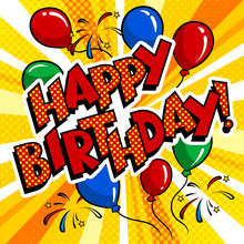 Happy Birthday Word Comic Book Pop Art Vector