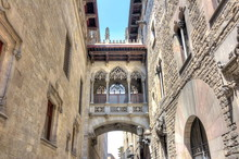 Bridge Of Sighs (Pont Dels Sospirs) In Gothic Quarter, Barcelona, Spain