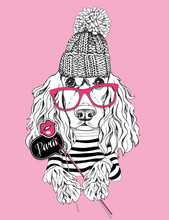 Card Of A Valentine's Day. Cocker Spaniel Dog In A Striped Cardigan, In A Knitted Cap And With A Photo Booth Props. Vector Illustration.