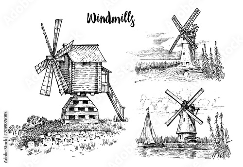 Photographie Windmill landscape in vintage, retro hand drawn or engraved style, can be use for ecological bakery logo, wheat field with old building