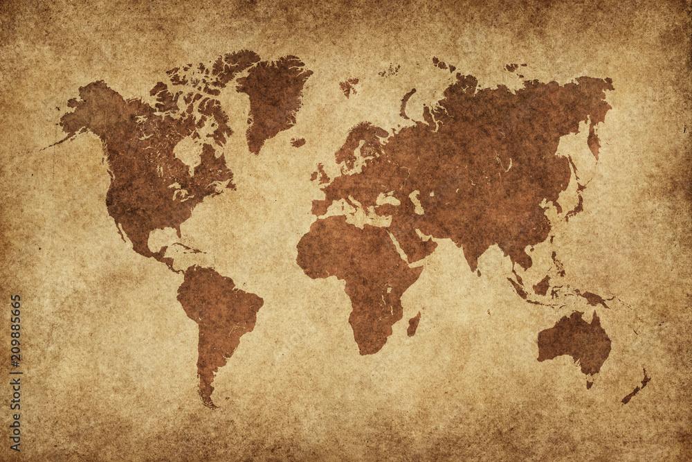 Fototapety, obrazy: World Map Paper Vintage