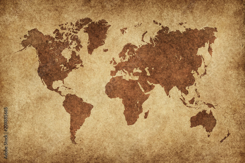 Fototapeta World Map Paper Vintage obraz