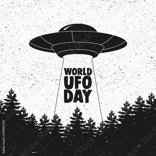 Photo  Ufo flying spaceship. World UFO Day. Flying saucer. Vector