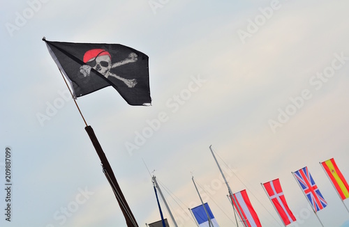 Pirate flag in the blue sky Poster