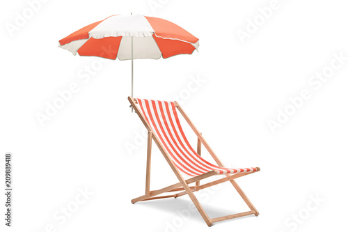 Deck chair with an umbrella Canvas Print