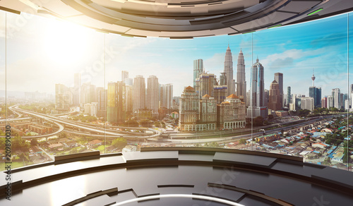 Futuristic interior design empty space room with large windows and city urban landscape Fototapete
