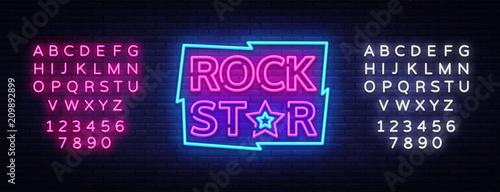 Plakat Rock Star Neon Sign Vector Illustration. Design template neon signboard on Rock Music, Light banner, Bright Night Advertising. Vector. Editing text neon sign