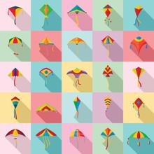 Kite Flying Festival Surf Icons Set. Flat Illustration Of 25 Kite Flying Festival Surf Vector Icons For Web