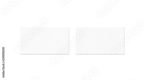 Blank white two business cards mock up, top view, isolated
