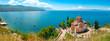 canvas print picture - Kirche des Heiligen Johannes von Kaneo und Ohridsee, Ohrid