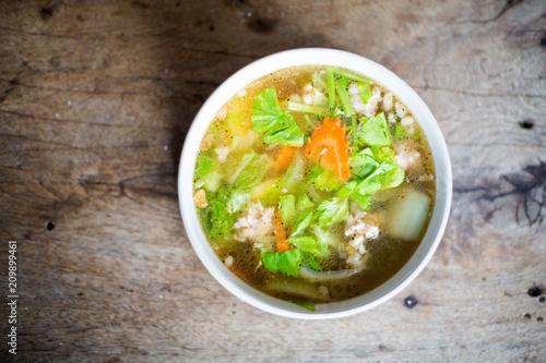 Thai pork broth vegetable soup