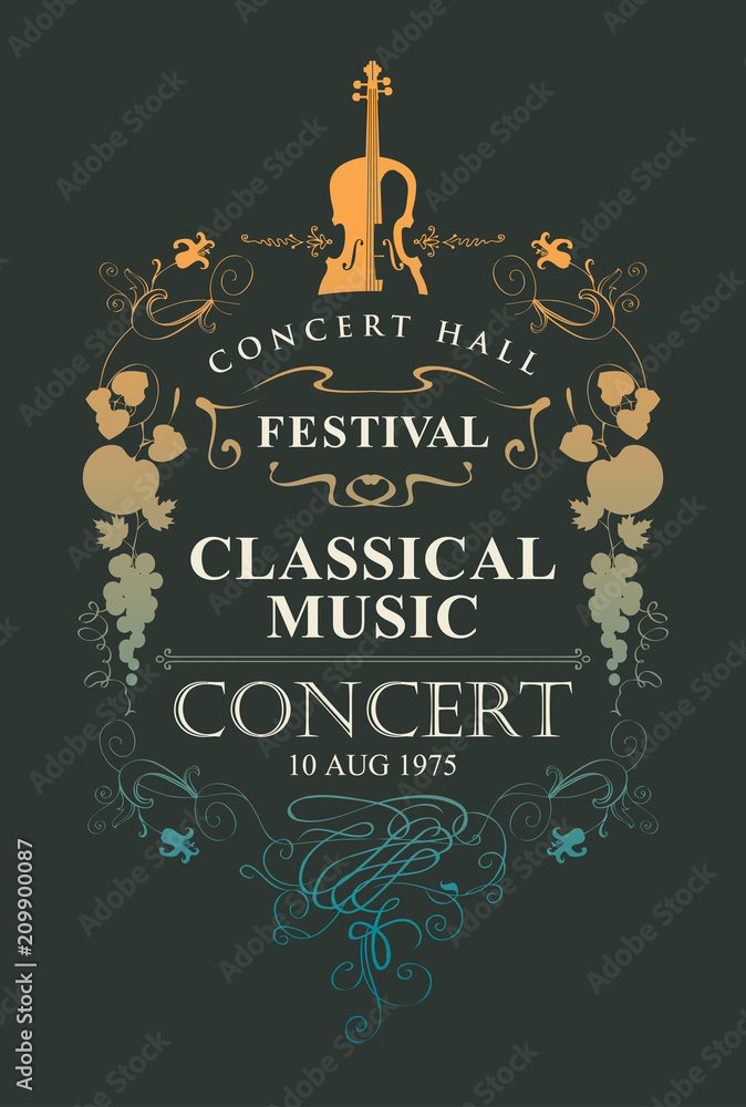 Fototapeta Vector poster for a concert of classical music with place for text, vignette and violin in vintage style on black background
