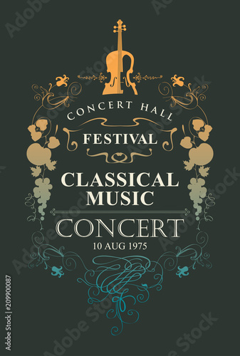 Photo Vector poster for a concert of classical music with place for text, vignette and