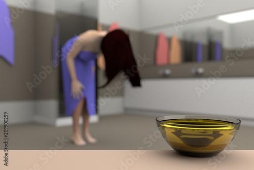 Valokuva  jojoba oil in the bathroom, 3D illustration