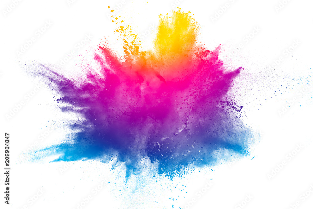 Fototapety, obrazy: Explosion of rainbow color powder on white background.