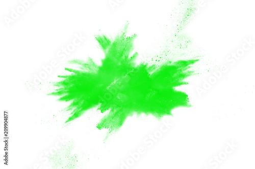 Printed kitchen splashbacks Watercolor Nature Yellow green powder explosion on white background. Green color dust splash.