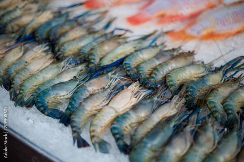 Thai raw prawns on market